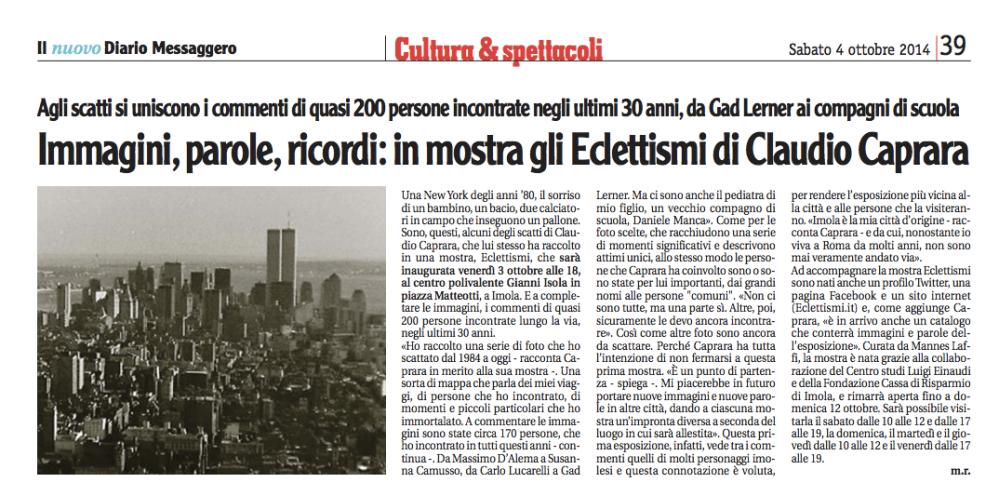 Articolo Nuovo Diario Messaggero