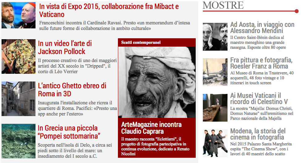 La home page di ArteMagazine